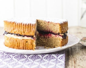 Coffee, Almond and Blackcurrant Cake