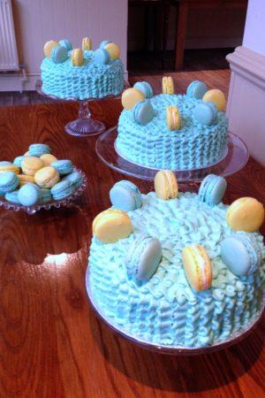 Lemon and Blueberry Ruffle Macaron Cake