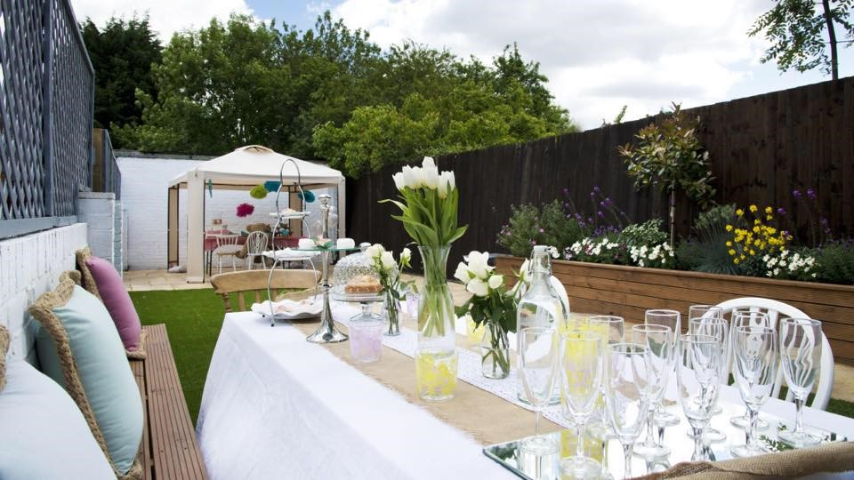 Cafe Partnerships afternoon tea in the garden