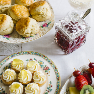 Vintage Tea Party with scones and jam