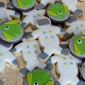 Astronaut and alien iced biscuits
