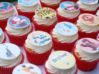 Corporate book cover iced cupcakes