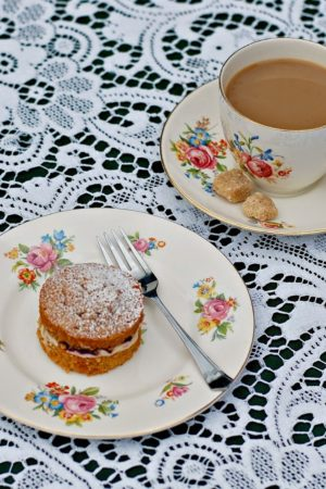 Mini coffee, almond and blackcurrant cakes