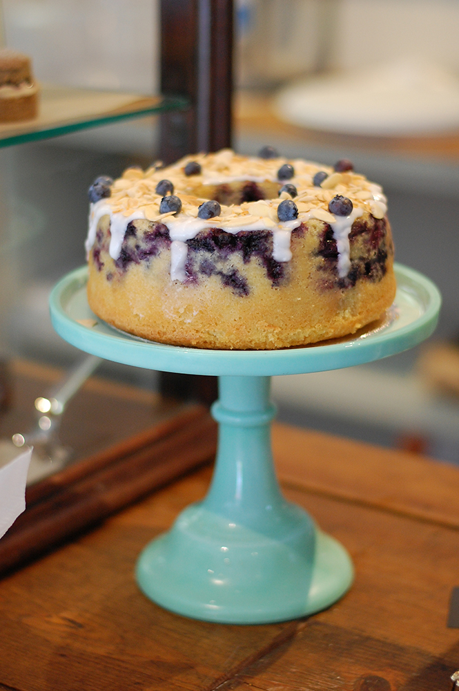 Cafe Partnerships a iced blueberry cake