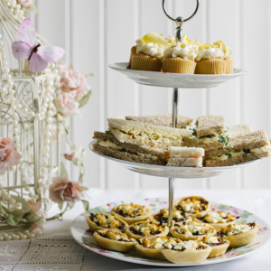 Vintage Tea Party with cupcakes sandwiches and tartlets