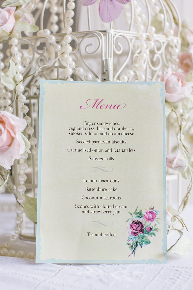 Vintage Tea Party example of a menu